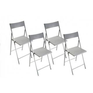 BELFORT Lot de 4 chaises pliantes argent