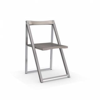Chaise pliante SKIP grège et aluminium satiné