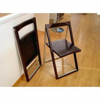 Chaise pliante SKIP wengé et aluminium satiné