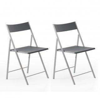 Lot de 2 chaises pliantes GANA gris graphite