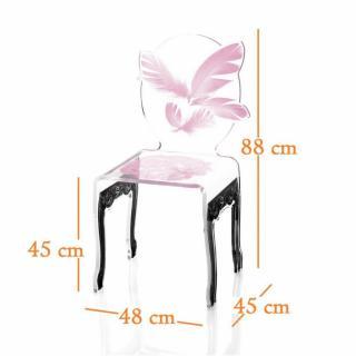 chaises meubles et rangements plume chaise design en plexi rose pi tement noir par acrila. Black Bedroom Furniture Sets. Home Design Ideas