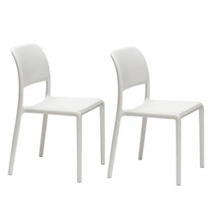 Lot de 2 chaises RIVER empilables design blanc