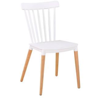 Chaise à barreaux design scandinave ICONIC blanche matte piétement chêne clair