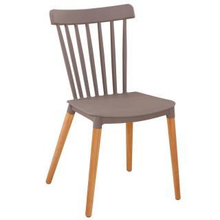 Chaise à barreaux design scandinave ICONIC gris mat piétement chêne clair