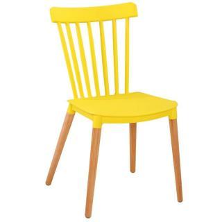 Chaise à barreaux design scandinave ICONIC jaune mat piétement chêne clair