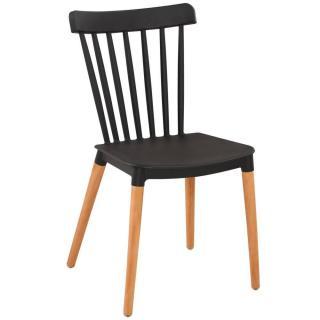 Chaise à barreaux design scandinave ICONIC noire matte piétement chêne clair