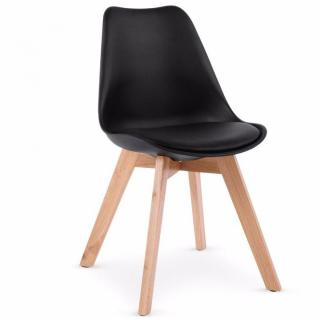 Chaise OSLO noire design scandinave piétement en hêtre
