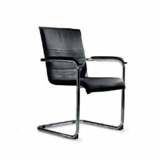 Chaise CUBIKA design polyuréthane façon cuir noir structure chromée