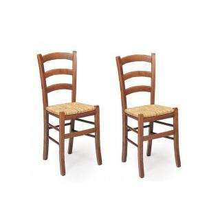 Lot de 2 chaises  PAESANA  design noyer assise en paille