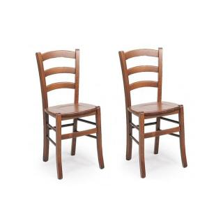Lot de 2 chaises PAESANA  design noyer assise en  bois