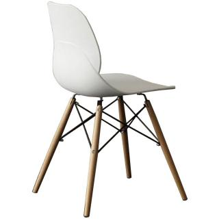 Chaise SHELL WOOD design blanche