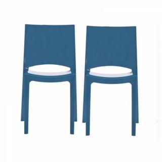 Lot de 2 chaises SUNSHINE empilables design bleu brillant