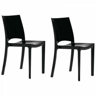 Lot de 2 chaises SUNSHINE empilables design noir brillant