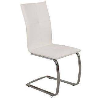 Chaise design SWING en tissu enduit polyuréthane simili façon cuir blanc piétement chromé type luge