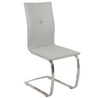 Chaise design SWING en tissu enduit polyuréthane simili façon cuir gris piétement chromé type luge