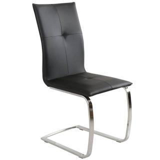 Chaise design SWING en tissu enduit polyuréthane simili façon cuir noir piétement chromé type luge