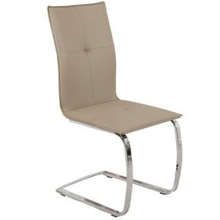 Chaise design SWING revêtement polyuréthane façon cuir taupe piétement chromé type luge
