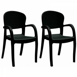 Lot de 2 chaises TEMPTRESS empilable design noir brillant
