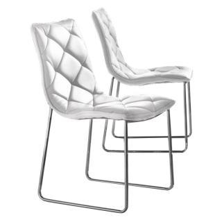 Lot de 2 chaises TOSCANE polyuréthane façon cuir blanc piétement acier chromé