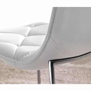 Lot de 2 chaises TOSCANE en tissu enduit polyuréthane simili façon cuir blanc piétement chromé