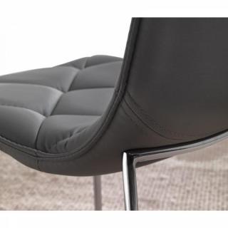 Lot de 2 chaises TOSCANE en tissu enduit polyuréthane simili façon cuir gris titane piétement acier chromé