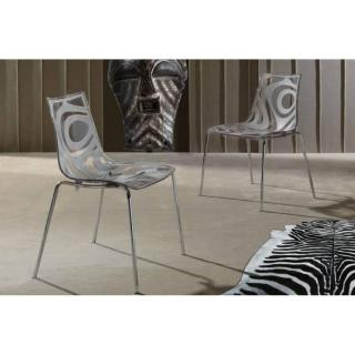 Lot de 2 chaises design TRIBAL transparente