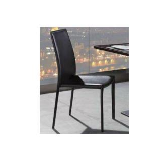 Chaise VANITY revêtement polyuréthane façon cuir noir piétement métal laqué noir