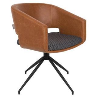 ZUIVER Chaise  BEAU revêtement polyuréthane façon cuir marron design scandinave