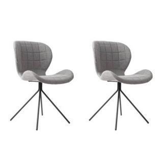 Lot de 2 chaises ZUIVER OMG tissu gris