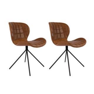Lot de 2 chaises ZUIVER OMG LL polyuréthane marron