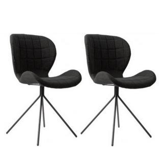Lot de 2 chaises ZUIVER OMG tissu noir