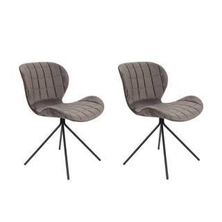 Lot de 2 chaises ZUIVER OMG velours gris