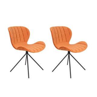 Lot de 2 chaises ZUIVER OMG velours orange