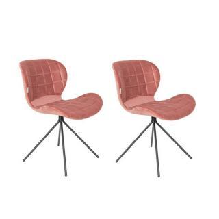 Lot de 2 chaises ZUIVER OMG velours rose