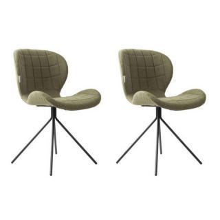 Lot de 2 chaises ZUIVER OMG tissu vert