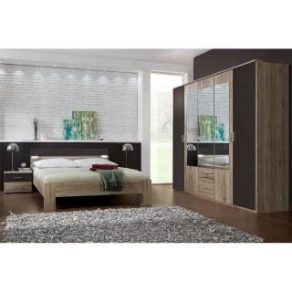 Chambre à coucher DAKOTA 180*200cm chêne/lave avec éclairages Led