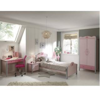 Ensemble chambre à coucher 4 éléments LYLI rose/gris