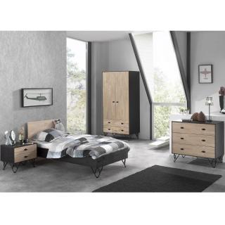 Ensemble chambre à coucher design GABIN 90cm en bois massif 4 éléments