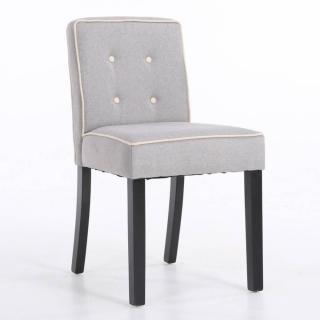 Chaise design contemporain CHARLEMAGNE tissu lin gris clair