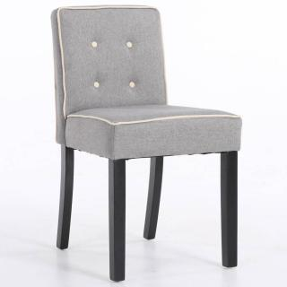 Chaise design contemporain CHARLEMAGNE tissu lin gris