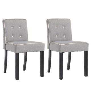 Lot de 2 chaises design contemporain CHARLEMAGNE tissu lin gris