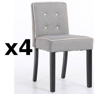 Lot de 4 chaises design contemporain CHARLEMAGNE tissu lin gris
