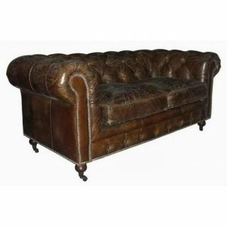 CHESTERFIELD fixe 2 places véritable cuir vintage marron capitonné