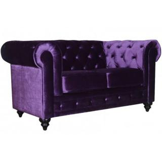 Canapé fixe 2 places CHESTERFIELD ELITE en Velours violet capitonné