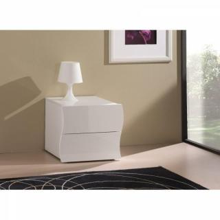 Chevet 2 tiroirs VAGUE NANETTO blanc brillant