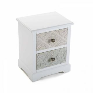 Chevet blanc 2 tiroirs baroque MOSELA