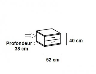 Chevet ANGELA 1 tiroir blanc 1 tiroir gris clair