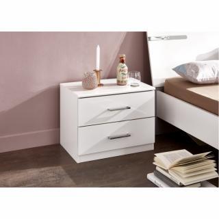 Chevet 2 tiroirs CARAMELLA décor finition blanc
