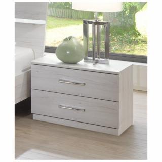 Chevet 2 tiroirs CARAMELLA décor finition chêne blanchi