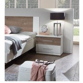 Chevet EVA 1 tiroir blanc 1 tiroir chêne châtaigne